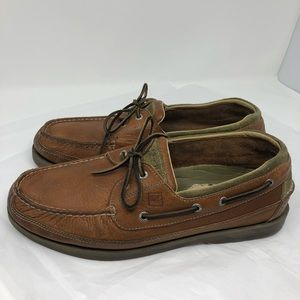 Speedy Top Sider Mako Brown Leather boat shoes 13